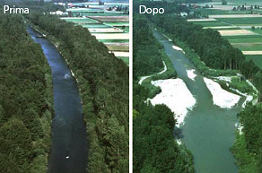 River restoration project, with river banks drifting in order to restore river space (Emme river, Switzerland - Foto rielaborata da: Requena P., Weichert R.B. & Minor H.-E., 2006).