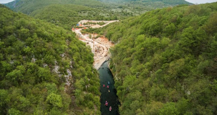 The Medna hydropower plant construction site on the Sana river in Bosnia by Austrian-German energy company Kelag threatens the endangered huchen, or Danube salmon. Photograph: Matic Oblak/Save the Blue Heart of Europe