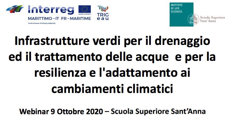 Infrastrutture verdi per il drenaggio ed il trattamento delle acque e per la resilienza e l'adattamento ai cambiamenti climatici