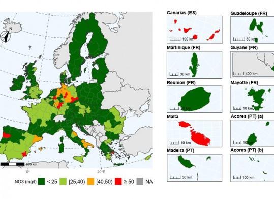 direttiva nitrati e cartina con centrazioni nitrati nelle acque sotterranee